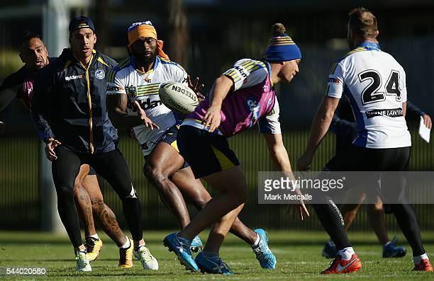Semi Radradra in action during a Parramatta Eels training session at the Eels Training Centre on July 1 2016 in Sydney Australia