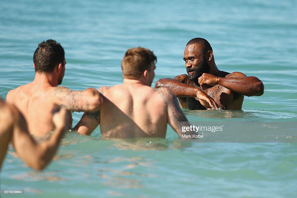 Semi Radradra looks on as he walks in the water during the Australia Kangaroos Test team recovery session at Coogee Beach on May 2, 2016 in Sydney, Australia.