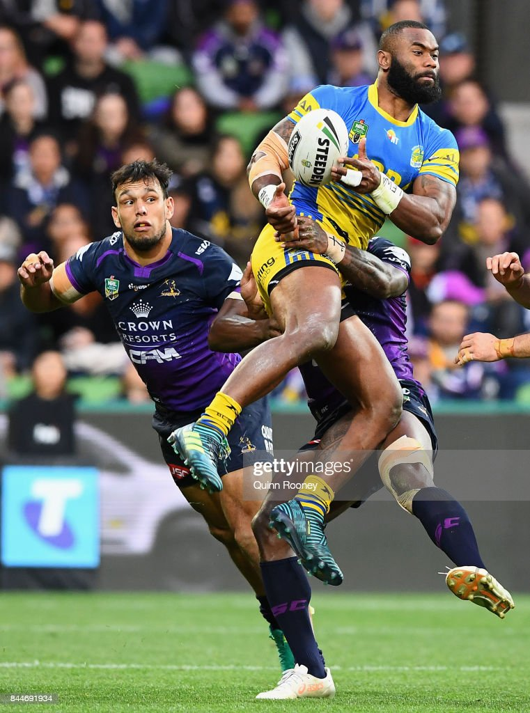 Semi Radradra of the Eels catches the ball during the NRL Qualifying Final match between the Melbourne Storm and the Parramatta Eels at AAMI Park on September 9, 2017 in Melbourne, Australia.