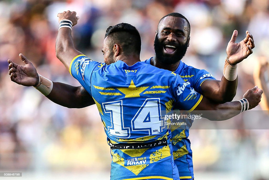 Semi Radradra of the Eels celebrates after winning the 2016 Auckland Nines Grand Final match between the Warriors and the Eels at Eden Park on February 7, 2016 in Auckland, New Zealand.