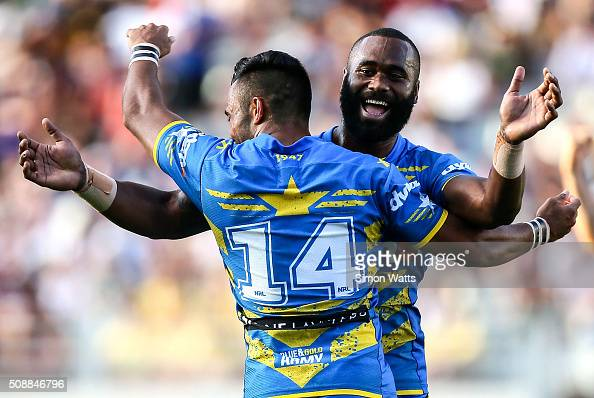 Semi Radradra of the Eels celebrates after winning the 2016 Auckland Nines Grand Final match between the Warriors and the Eels at Eden Park on...