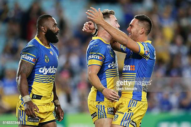 Semi Radradra of the Eels celebrates scoring a try with team mates during the round three NRL match between the Canterbury Bulldogs and the...