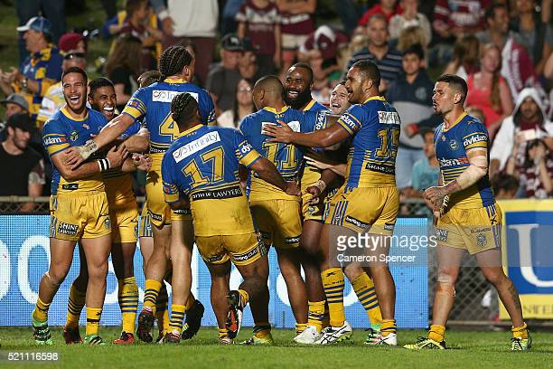 Semi Radradra of the Eels celebrates with his team mates after scoring a try during the round seven NRL match between the Manly Sea Eagles and...