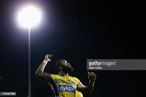 Semi Radradra of the Eels celebratesscoring a try during the round 12 NRL match between Penrith Panthers and the Parramatta Eels at Pepper Stadium on...