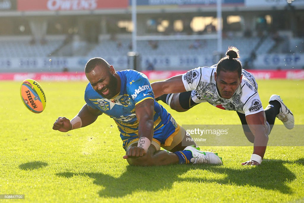 Semi Radradra of the Eels fumbles the ball in the tackle of Solomone Kata of the Warriors during the final match between the New Zealand Warriors and the Parramatta Eels at the 2016 NRL Auckland Nines at Eden Park on February 7, 2016 in Auckland, New Zealand.