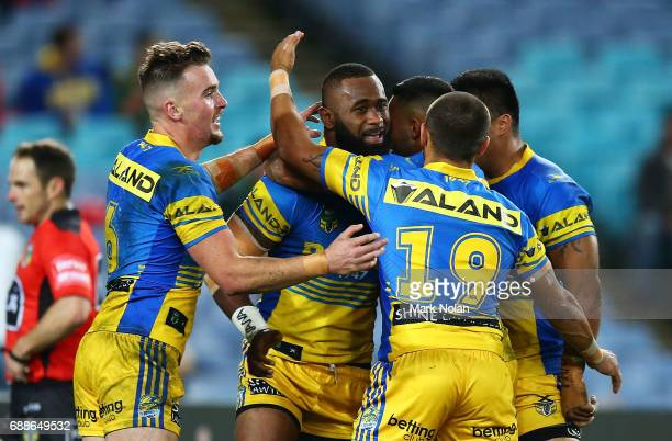 Semi Radradra of the Eels is congratulated after scoring a try during the round 12 NRL match between the South Sydney Rabbitohs and the Parramatta...