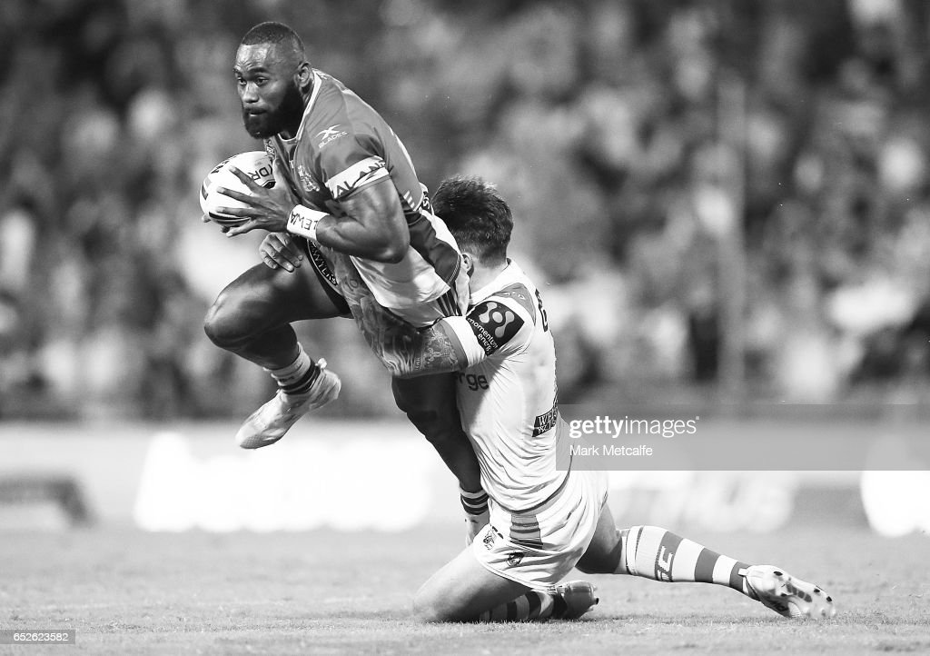 Semi Radradra of the Eels is tackled by Gareth Widdop of the Dragons during the round two NRL match between the St George Illawarra Dragons and the Parramatta Eels at WIN Stadium on March 12, 2017 in Wollongong, Australia.