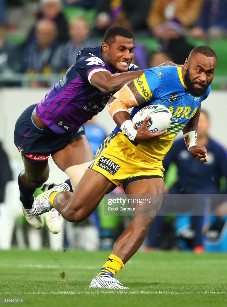 Semi Radradra of the Eels is tackled by Suliasi Vunivalu of the Storm and he is sent to the sin bin during the round 18 NRL match between the Melbourne Storm and the Parramatta Eels at AAMI Park on July 8, 2017 in Melbourne, Australia.