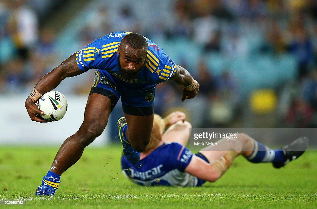 <a gi-track='captionPersonalityLinkClicked' href=/galleries/search?phrase=Semi+Radradra&family=editorial&specificpeople=7896121 ng-click='$event.stopPropagation()'>Semi Radradra</a> of the Eels runs over <a gi-track='captionPersonalityLinkClicked' href=/galleries/search?phrase=James+Graham+-+Rugby+Player&family=editorial&specificpeople=15021163 ng-click='$event.stopPropagation()'>James Graham</a> of the Bulldogs during the round nine NRL match between the Parramatta Eels and the Canterbury Bulldogs at ANZ Stadium on April 29, 2016 in Sydney, Australia.