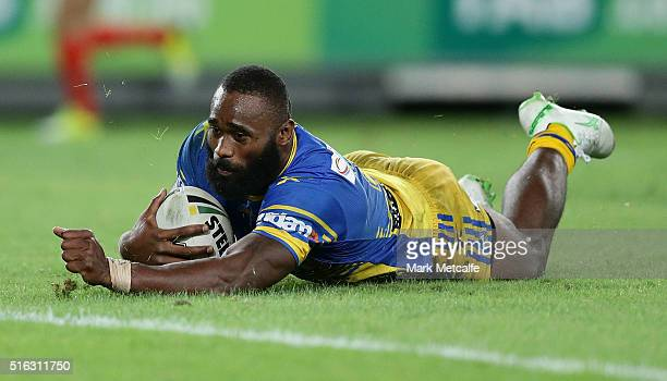 Semi Radradra of the Eels scores a try during the round three NRL match between the Canterbury Bulldogs and the Parramatta Eels at ANZ Stadium on...