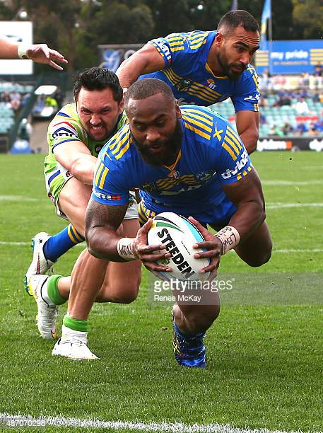Semi Radradra of the Eels scores his 24th try of the season during the round 26 NRL match between the Parramatta Eels and the Canberra Raiders at...