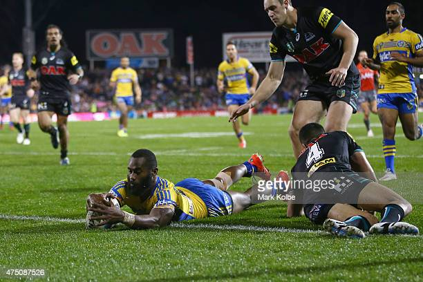 Semi Radradra of the Eels scores try during the round 12 NRL match between Penrith Panthers and the Parramatta Eels at Pepper Stadium on May 29 2015...