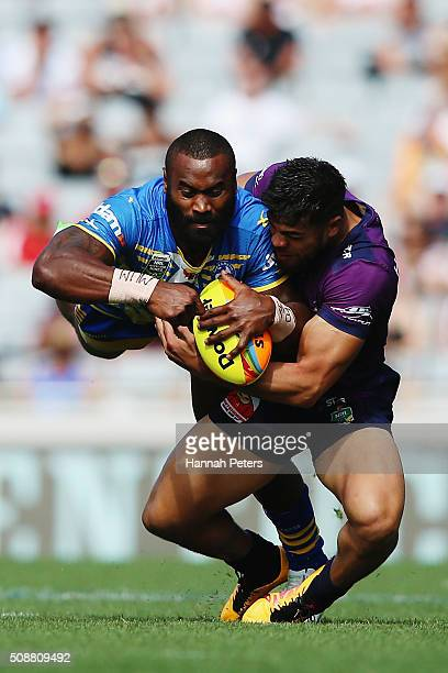 Semi Radradra of the Parramatta Eels charges forward during the 2016 Auckland Nines semi final match between the Parramatta Eels and the Melbourne...