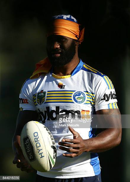 Semi Radradra warms up during a Parramatta Eels training session at the Eels Training Centre on July 1 2016 in Sydney Australia