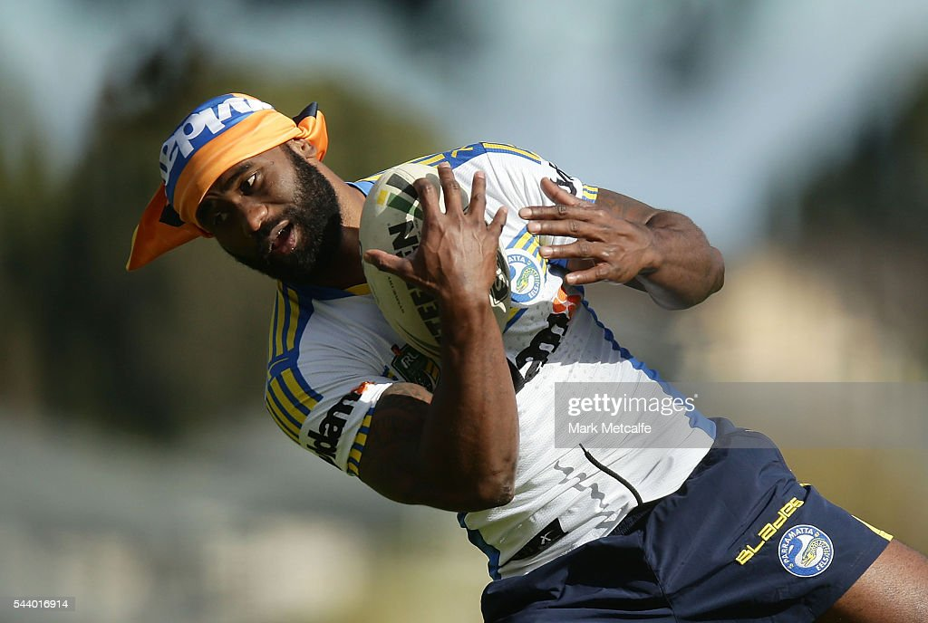 Semi Radradra warms up during a Parramatta Eels training session at the Eels Training Centre on July 1, 2016 in Sydney, Australia.