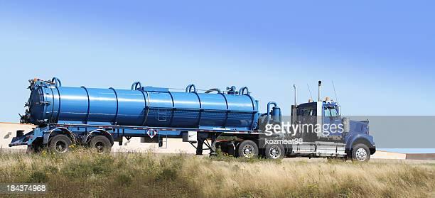 Semi Tanker Truck Hauling Sewage To A Treatment Plant