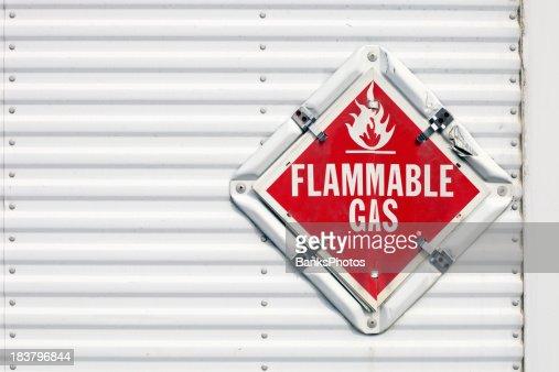 Semi Trailer Flammable Gas Warning Placard