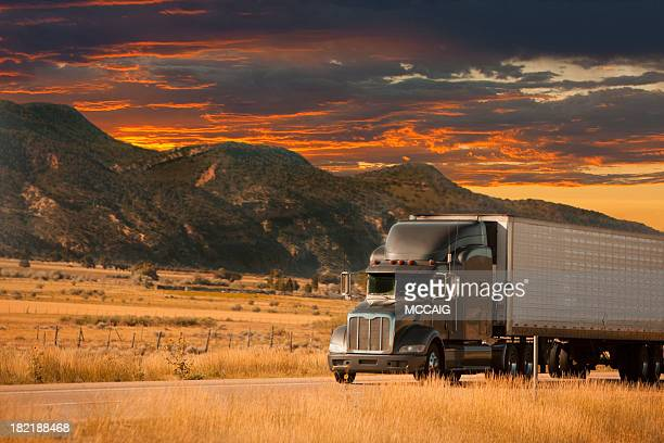 semi truck sunset