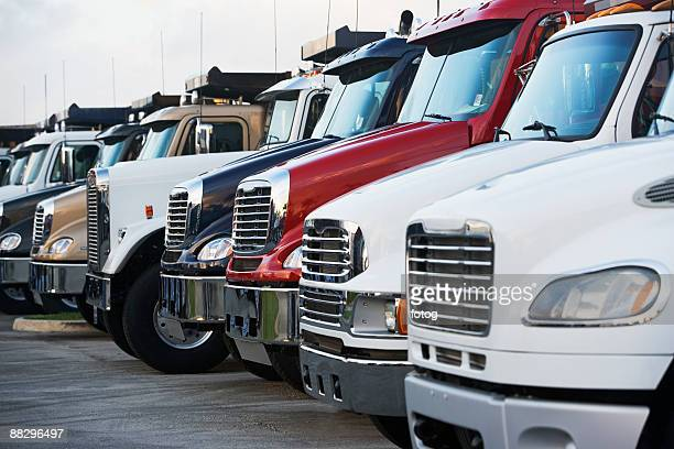 Semi trucks in a row