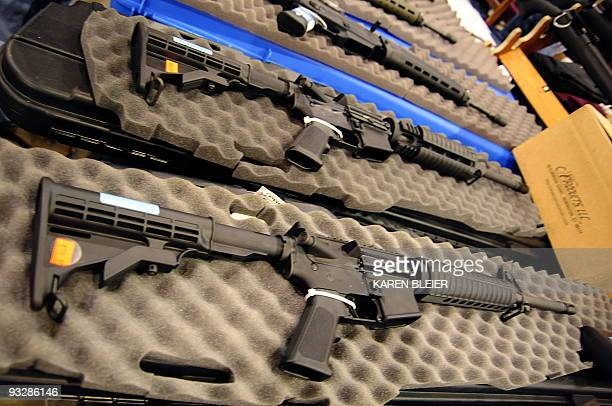 Semiautomatic assault style rifles on display at the Nations Gunshow on November 21 2009 in Chantilly Virginia Vendors and collectors of current and...