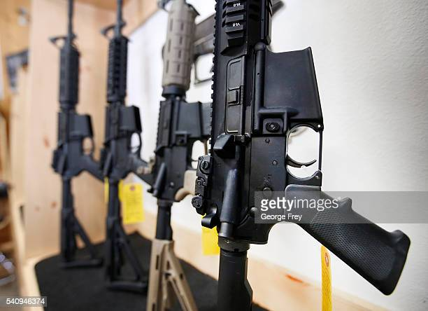 AR15 semiautomatic guns are on display for sale at Action Target on June 17 2016 in Springville Utah Semiautomatics are in the news again after the...