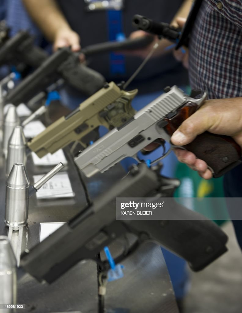 Semiautomatic handguns displayed at the143rd NRA Annual Meetings and Exhibits at the Indiana Convention Center in Indianapolis Indiana on April 25...