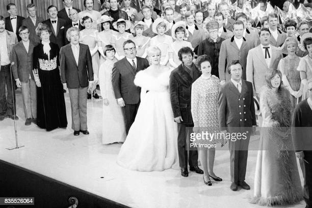 A semigeneral view of the rehearsal for the finale of the Royal variety Show Front row left to right Roy Castle Moira Anderson Danny La Rue Mirielle...