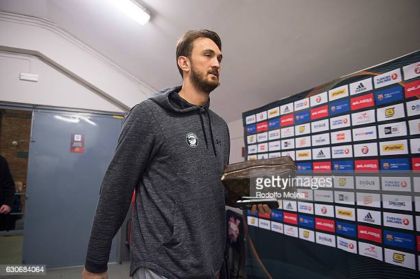 Semih Erden #9 of Darussafaka Dogus Istanbul arriving to the Arena prior the 2016/2017 Turkish Airlines EuroLeague Regular Season Round 15 game...