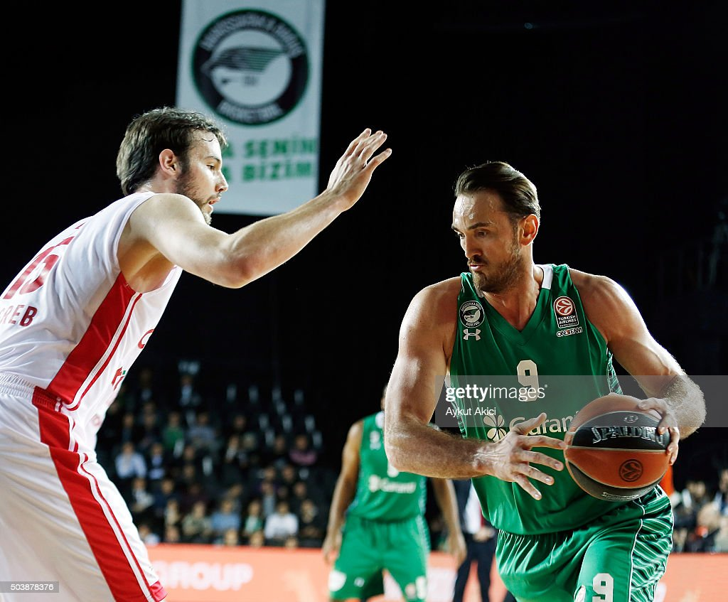 Semih Erden, #9 of Darussafaka Dogus Istanbul in action during the Turkish Airlines Euroleague Basketball Top 16 Round 2 game between Darussafaka Dogus Istanbul v Cedevita Zagreb at Volkswagen Arena on January 7, 2016 in Istanbul, Turkey.