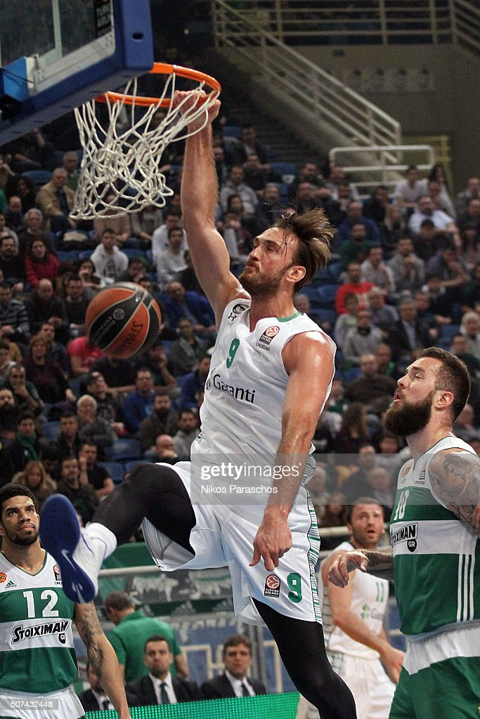 Semih Erden, #9 of Darussafaka Dogus Istanbul in action during the Turkish Airlines Euroleague Basketball Top 16 Round 5 game between Panathinaikos Athens v Darussafaka Dogus Istanbul at Olympic Sports Center Athens on January 29, 2016 in Athens, Greece.