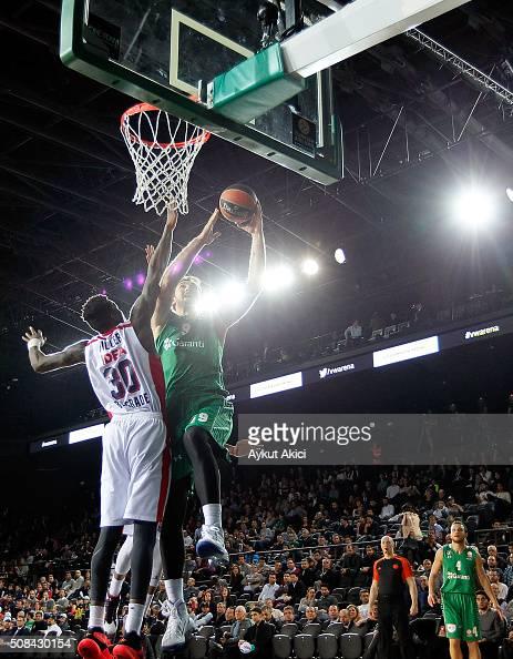 Semih Erden #9 of Darussafaka Dogus Istanbul in action during the Turkish Airlines Euroleague Basketball Top 16 Round 6 game between Darussafaka...