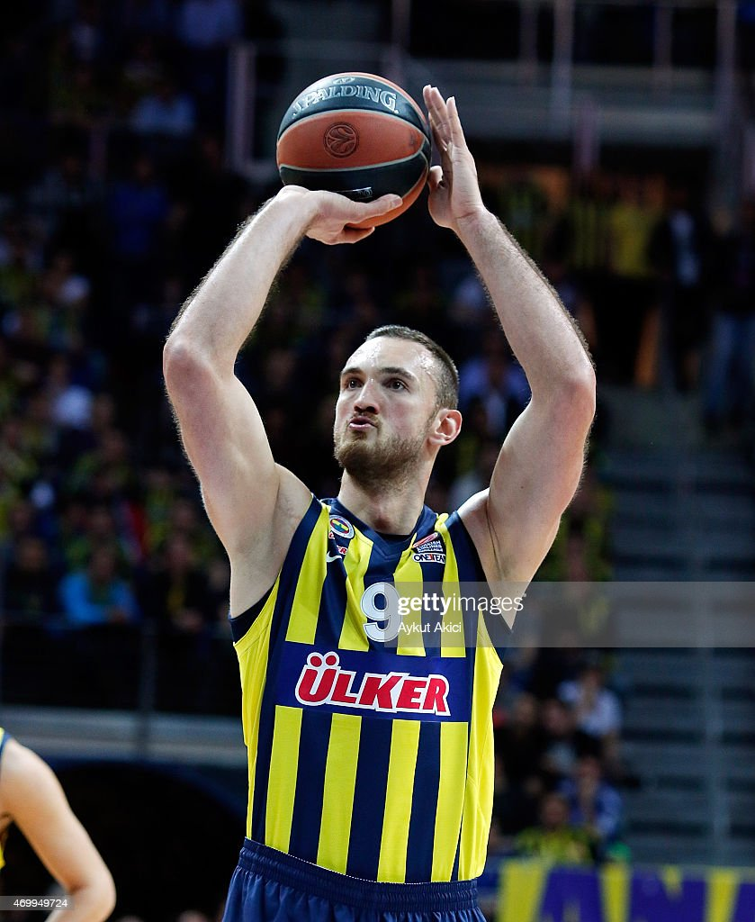 Semih Erden, #9 of Fenerbahce Ulker Istanbul in action during the 2014-2015 Turkish Airlines Euroleague Basketball Play Off Game 2 between Fenerbahce Ulker Istanbul v Maccabi Electra Tel Aviv at Ulker Sports Arena on April 16, 2015 in Istanbul, Turkey.