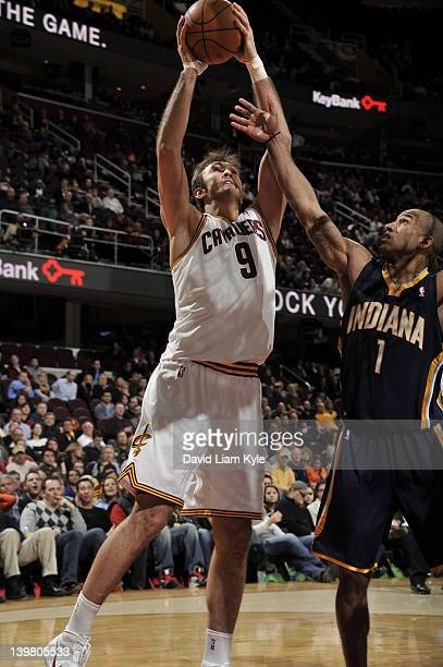 Semih Erden of the Cleveland Cavaliers drives to the basket against Dahntay Jones of the Indiana Pacers at The Quicken Loans Arena on February 15...