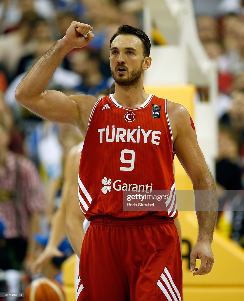 <a gi-track='captionPersonalityLinkClicked' href=/galleries/search?phrase=Semih+Erden&family=editorial&specificpeople=2550292 ng-click='$event.stopPropagation()'>Semih Erden</a> of Turkey celebrates during the FIBA EuroBasket 2015 Group B basketball match between Germany and Turkey at Arena of EuroBasket 2015 on September 8, 2015 in Berlin, Germany.