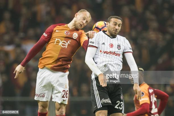 Semih Kaya of Galatasaray Cenk Tosun of Besiktas JKduring the Turkish Spor Toto Super Lig football match between Galatasaray SK and Besiktas JK on...
