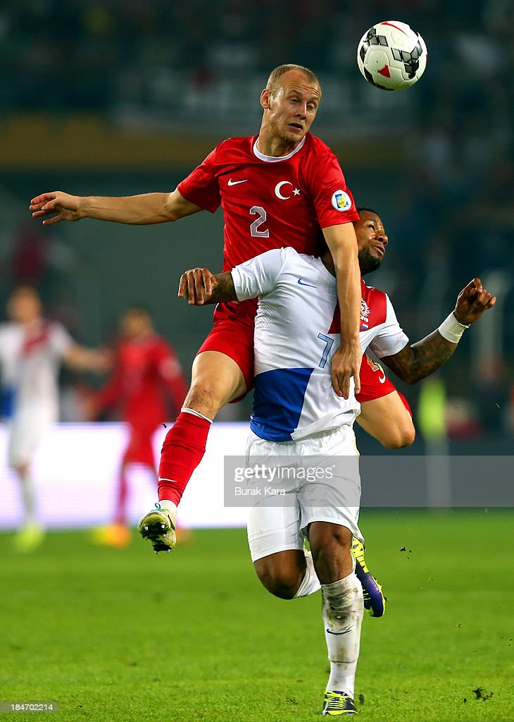 <a gi-track='captionPersonalityLinkClicked' href=/galleries/search?phrase=Semih+Kaya&family=editorial&specificpeople=9183652 ng-click='$event.stopPropagation()'>Semih Kaya</a> of Turkey jumps for a header with <a gi-track='captionPersonalityLinkClicked' href=/galleries/search?phrase=Jeremain+Lens&family=editorial&specificpeople=4174305 ng-click='$event.stopPropagation()'>Jeremain Lens</a> of Netherlands during the FIFA 2014 World Cup Qualifier match at the Sukru Saracoglu Stadium on October 15, 2013 in Istanbul, Turkey.