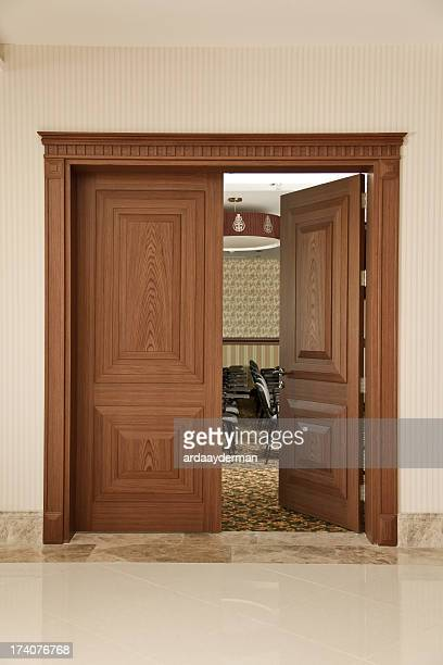 seminar room, opened the door