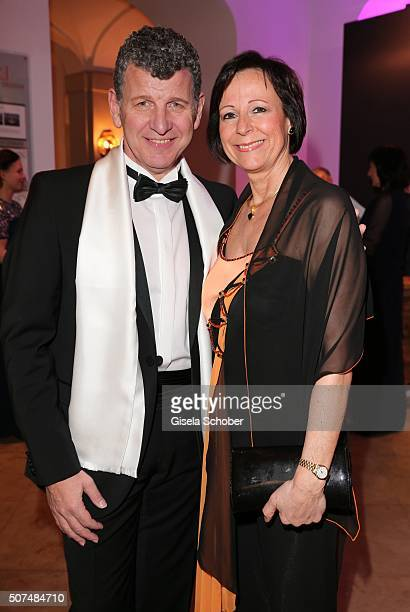 Semino Rossi and his wife Gaby Rossi during the Semper Opera Ball 2016 reception at Taschenbergpalais Kempinski on January 29 2016 in Dresden Germany