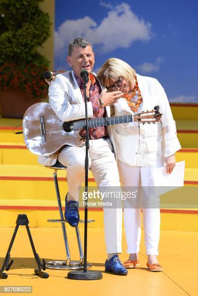 Semino Rossi and Mary Roos during the ARD Live TV Show 'Immer Wieder Sonntags' at EuropaPark on August 6 2017 in Rust Germany