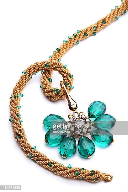 Semi-Precious Green Gemstone and Quartz Pendants on Golden Strin