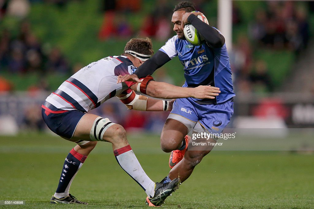 Semisi Masirewa of the Force breaks a tackle during the round 14 Super Rugby match between the Rebels and the Force at AAMI Park on May 29, 2016 in Melbourne, Australia.