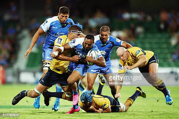 Semisi Masirewa of the Western Force is tackled during the round three Super Rugby match between the Western Force and the Brumbies at nib Stadium on...