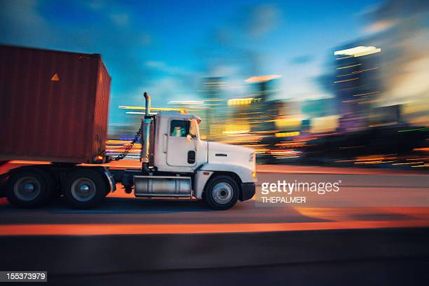 semi-truck at night