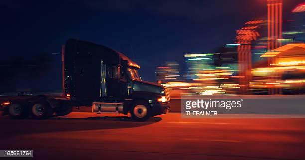 semi-truck at night