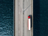 Aerial View of a Semi-Truck Crossing Oresund Bridge