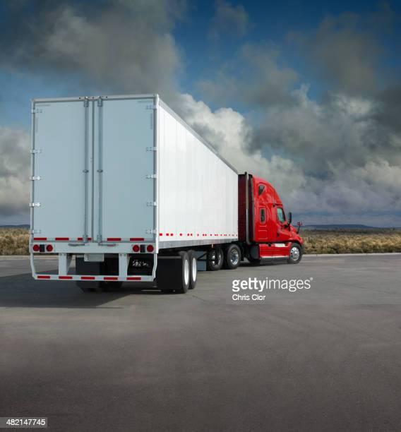 Semi-truck in parking lot