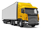 Shipping, logistics and freight delivery business commercial concept: 3D render illustration of the red semi-truck with blue 40 ft heavy cargo container isolated on white background