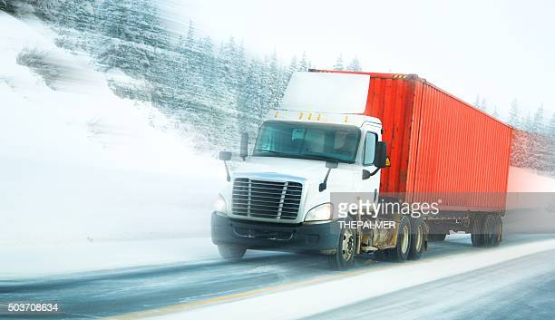 Semi-truck with container