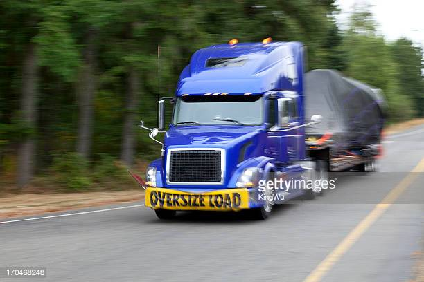 Semi-truck with oversize load