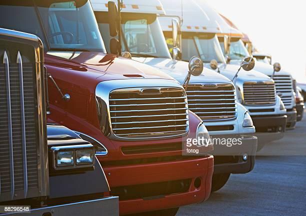 Semi-trucks in a row